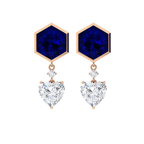 Pendientes hexagonales, aretes de zafiro azul creados en laboratorio, aretes de moissanita en forma de corazón, pendientes de 7 quilates, pendientes colgantes (calidad AAAA), rosca trasera blanco