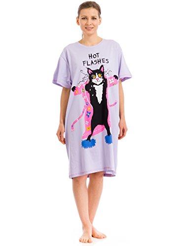 Hatley Little Blue House by Schlafshirts für Damen mit Katzen und Hunden - Violett - Einheitsgröße