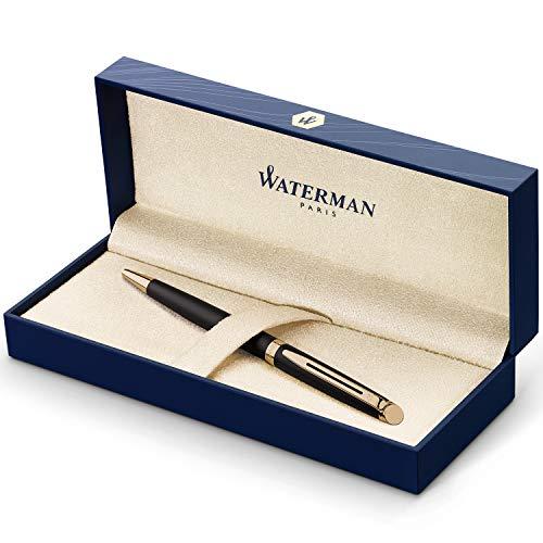 Waterman Hémisphère Kugelschreiber | Mattschwarz mit Zierteile aus 23K Gold | Mittlere Spitze | Blaue Tinte | Geschenkbox