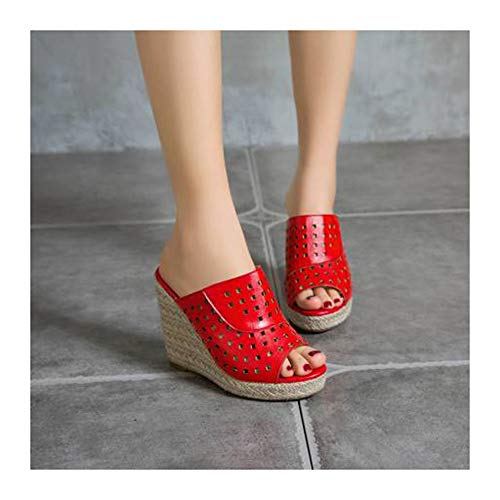 XIANWFBJ Damen-High-Heels, Neue Schuhe Mit Offenem Keilabsatz, High-Heel-Sandalen Mit Fischmaul, Mehrfarbig Optional (Größe 34 Bis 50),Rot,37 EU