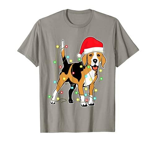 Luces de Navidad Beagle perro amante divertido regalo de Navidad Camiseta