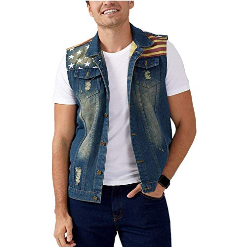 Men's Sleeveless Jacket Button Down Casual Lapel Denim Vest Ripped Hole Plus Size (American Flag, XL- Tag 4XL BUST 43)