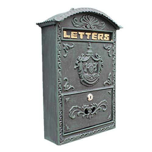 Mailbox Cast Iron muur bevestigde Letter Box Mailbox decoraties for Letters Postzegels Kranten Brievenbus (Color : As Shown, Size : 27.5x10.2x40cm)