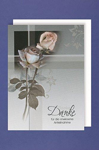 Trauer Danksagungen 5er Packung 5 Doppelkarten mit Umschlägen Danke .. erwiesene Anteilnahme