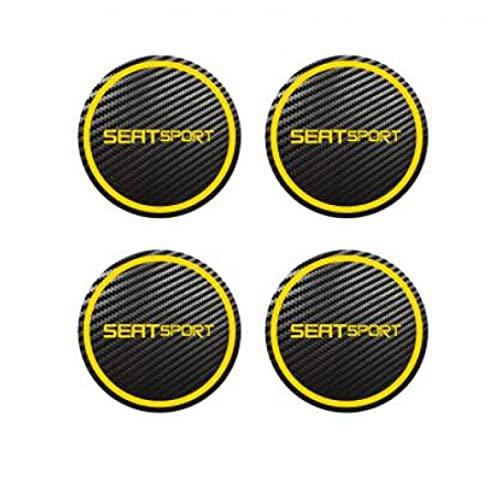 BASTKBOY 4 Uds 50mm 56mm 60mm 65mm 70mm para Seat Sport Insignia Logo Centro de Carbono Tapas de aleación Pegatinas de Cubo de Rueda Todos los tamaños Accesorios