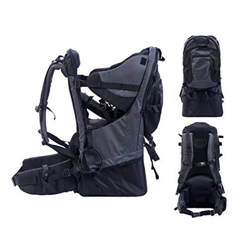 BJYX Babyrúckentragen mit Abnehmbare Schultasche Integrierter Regenhülle und Markise Babytragen Geeignet für Bergsteigen Reisen Wandern Outdoor Maximale Belastung 25 Kg,Schwarz