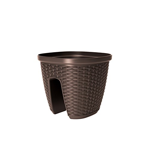 Emsa 515014 Geländertopf für den Balkon, 9 Liter, Selbstbewässerungssystem, Mokka, Casa Mesh