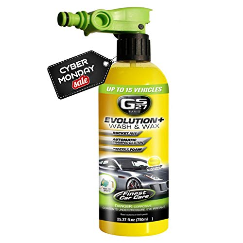 GS27 Evolution Car Wash and Wax with Hosepipe Adaptor (750 ml) | Car Washer Spray Bottle with Soap...