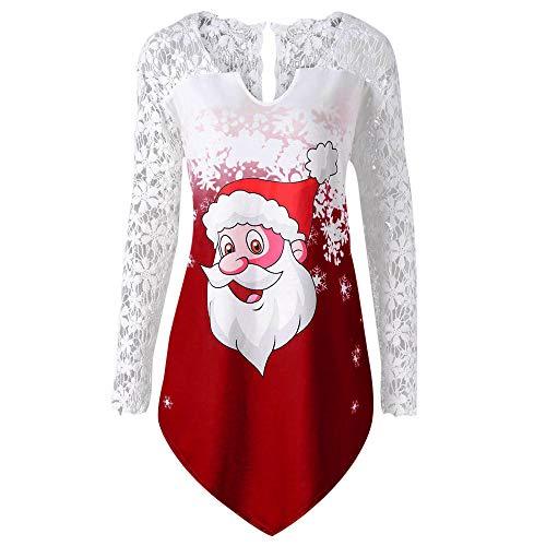 VEMOW Heißer Elegante Damen Frauen Frohe Weihnachten Plus Größe Gedruckt Spitze Patchwork Asymmetrische Party Casual Täglichen T-Shirt Tops(X1-a-Weinrot, 38 DE/XL CN