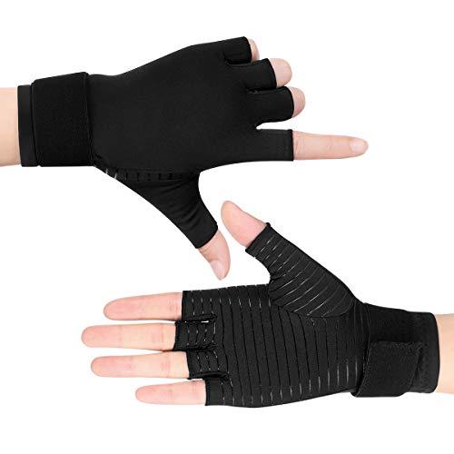 Healifty Arthritis Handschuhe - 2 Paar Kupfer Handschuhe Fingerlos Kompressions Handschuhe für Herren & Damen, Einstellbar für Arthrose und Schmerzen im Karpaltunnel