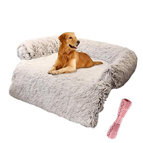 bozitian Hundebett Couch für Sofaschutz Hund und Kofferraumschutz, Flauschige Hundedecke, Hundedecke Haustier Super Softe Warme und Weiche Flauschig Fleece für Hundebett Sofa und Couch(Mit Spielzeug)