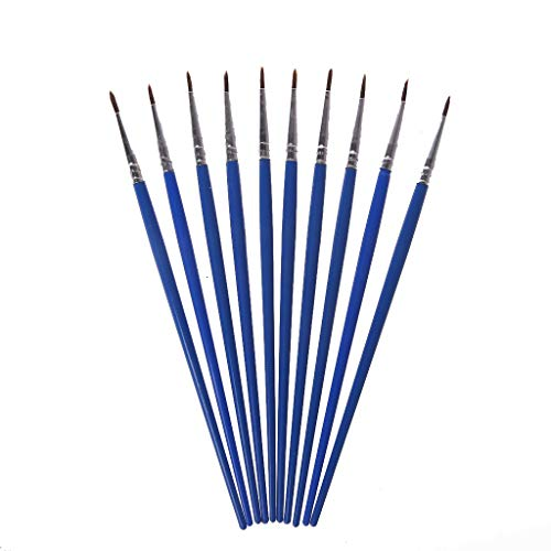 XTYaa Malerpinsel, Nylon, für Acryl, Aquarell, feine Spitze, dünn, 10 Stück