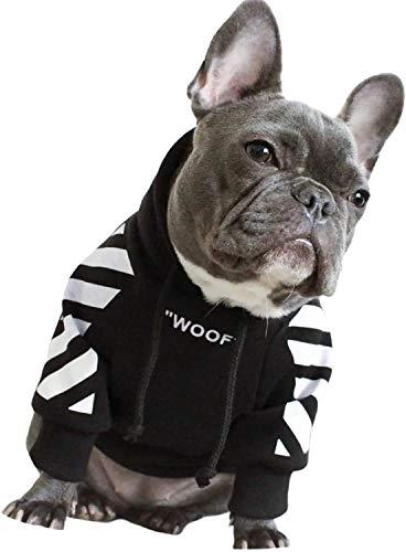 CSDmeewin 犬服 大中小型犬 パーカー コート 秋冬 冬服 アパレル スウェット 5サイズ(S-2XL) (2XL, Black with white strape)