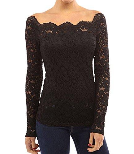 FANTIGO Mujeres Elegante Camisetas Manga Larga Blusas de Encaje Flores Lace Camisas Slim Fit Otoño T-Shirt(Negro,S