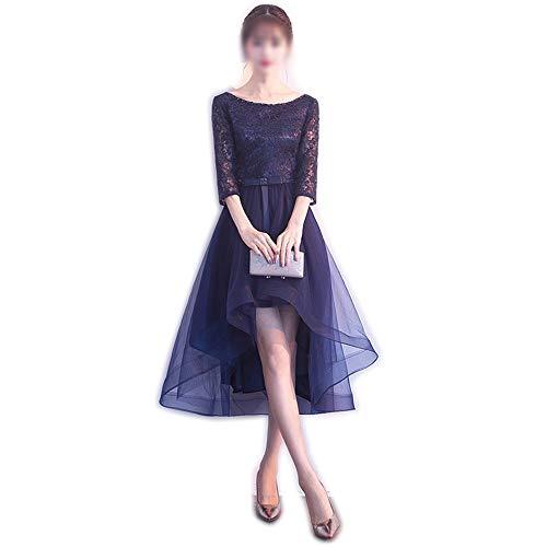 Frauenkleid Frauen-halbes Hülsen-rundes Ansatz-Spitze-Geburtstagsfeier-Kleid (Farbe : Blau, Size : XXL)