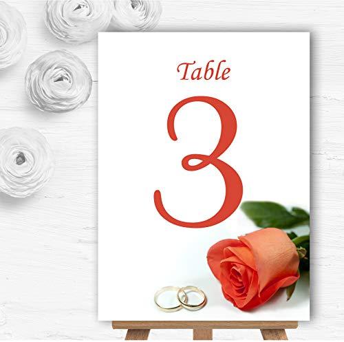 Oranje Koraal Perzik Rose Ringen Gepersonaliseerde Bruiloft Tafel Nummer Naam Kaarten 15 x Small A6