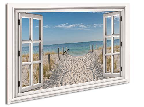Ayra- Leinwandbild Wandbild Fensterblick Keilrahmenbild Strand Nordsee Meer- fertig gerahmt! kein Poster (70x50cm, Variant B)