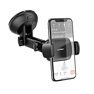 UGREEN Soporte Móvil Coche para Parabrisas, Porta Movil Coche en Ventosa Salpicadero con 360°Sujeción Brazo Extensible Soporte Portatil para iPhone 12 11Pro MAX X 8,Huawei P40, Samsung S20 Note 10