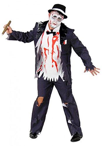 Foxxeo Zombie Gangster mit Blut-Flecken Halloween Kostüm für Herren Fasching Karneval 20er Jahre Party Größe L