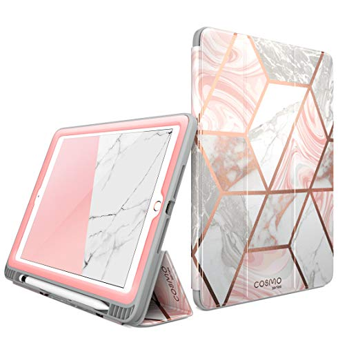 i-Blason Case for iPad 6th Generation, iPad 9.7 Case 2018/2017, Built-in Screen Protector Full-Body Trifold Cosmo Smart Cover with Auto Sleep/Wake & Pencil Holder (Marble)