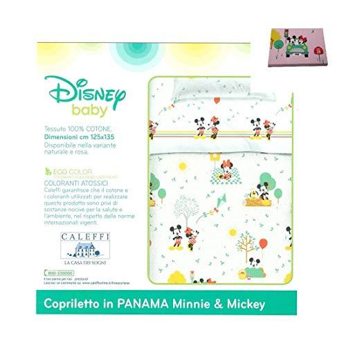 Caleffi Minnie & Mickey Tagesdecke nicht gesteppt, Größe Babybett 110 x 130 cm, 100 % Baumwolle