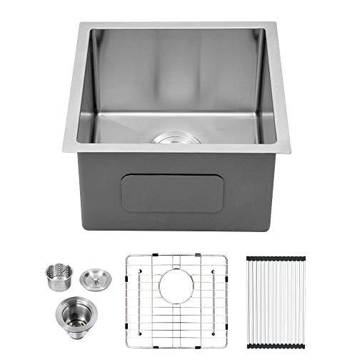 Lordear 13 x 15 inch Undermount Deep Single Bowl 16 Gauge R10 Tight Radius Stainless Steel Bar Prep Kitchen Sink