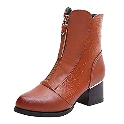 LONGDAY Side Zip Paddock Boots Women Flat Ankle Snow Motorcycle Boots Female Faux Leather PU Round Toe Block Heel