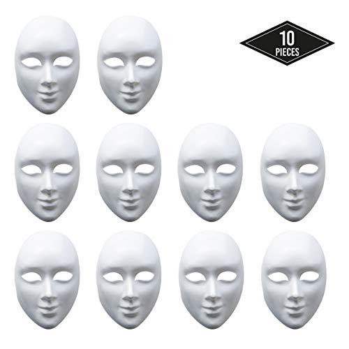 matana 10 Weiße Maske, Unisex - Unbemalt Maske zum Dekorieren & Design - Hochwertiges PVC - ideal für Halloween, Handgemalte, DIY, Ankleiden, Basteln, Cosplay Kostüm, Masquerade & Mehr