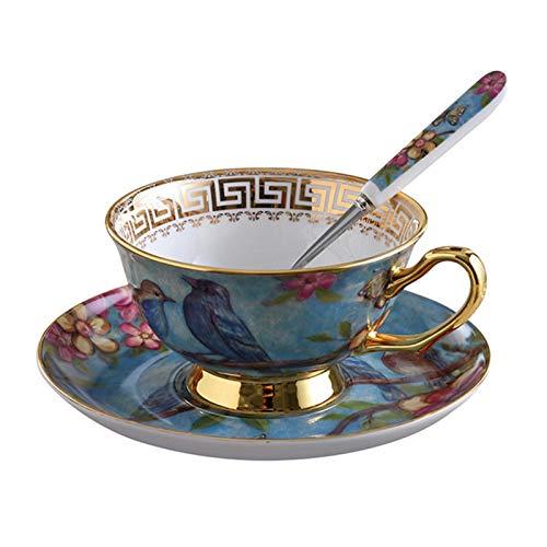 Aional Vintage Keramik Teetasse - Europäische Art Kaffee Keramik Tasse Set Elegante Kaffeetasse Mit Löffel Untertasse Set, Feine Royal Bone China Teetassen