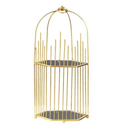 AERVEAL Estante de Almacenamiento, Estante de Almacenamiento de Escritorio Simple nórdico, exhibición cosmética Hueca portátil de la Jaula de pájaros
