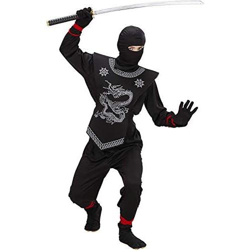 WIDMANN WID74528 - Costume per Bambini Ninja Nero, Nero, 158 cm/11-13 Anni
