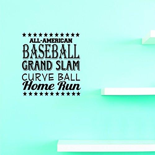 Sticker mural en vinyle JER 120 1 All American Baseball Sports Grand chelem Curve Ball Home Run Sign Sticker mural en vinyle pour chambre d'enfant, Noir , 14\