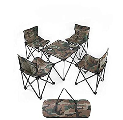 TVETGT Folding Table and Chair Camping Furniture Outdoor Portable Camping Folding Table and Chair 5-Piece Set (3-Piece Set)