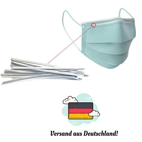 dok protektor® 100 hochwertige Nasenbügel für Mundschutzmasken/Behelfsmasken - Metallbügel für sicheren Halt - Kunststoff ummantelt - 100 Stück