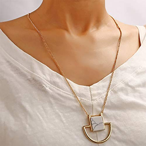Fdesigner Fashion Stone Long Necklace Gold Geometric Pendant Necklaces Chain Dainty Dangle Necklace Jewlery for Women and Girls