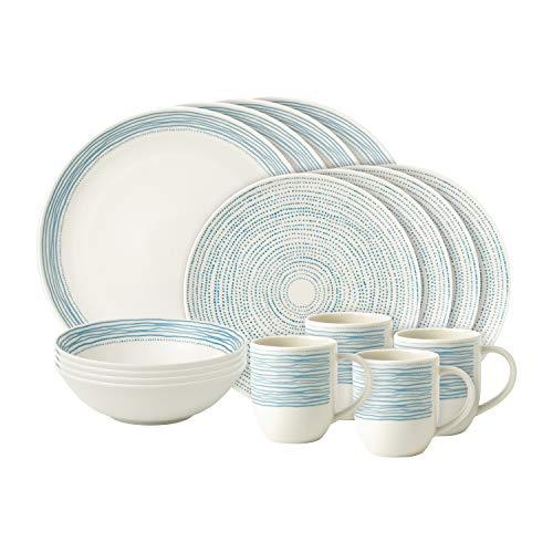 Royal Doulton Ellen DeGeneres - Vajilla (16 piezas, porcelana), diseño de lunares azules