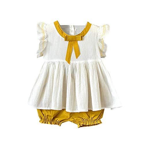 KEERADS KIDS été Toddler Bébés Filles sans Manches avec nœud uni et Volants 1 2 3 4 5 6 7 9 Ans Les magasins Ont
