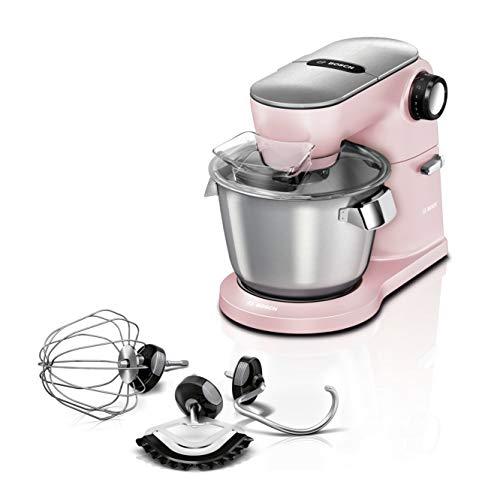 Bosch MUM9A66N00 OptiMUM - Robot da cucina extra forte, 1.600 Watt, ciotola in acciaio inox da 5,5 l, set professionale per pastelli, agitatore planetario, rosa pastello