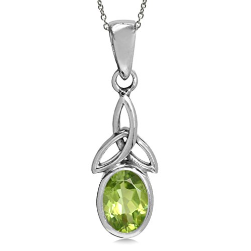 Silvershake Natural Peridot 925 Sterling Silver Triquetra Celtic Knot Pendant with 18 Inch Chain Necklace