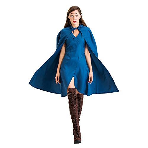 Shihong-G Königin Daenerys Cosplay Kostüm Halloween Karneval Cosplay für Frauen Mantel Kleid Mutter der Drachen Blaues Kleid