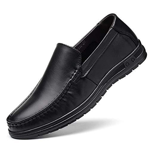 ZHANGCHANG Ocio for los Hombres del holgazán de Deslizamiento en los Artesanía Cuero Cosido a Ritmo Normal del Dedo del pie Zapatos Ocasionales Zapatos Formales de los Hombres de