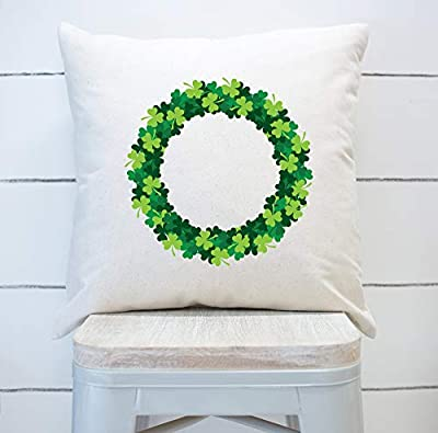 DKISEE Shamrock Wreath Decorative Throw Pillow Cover, St. Patricks Day Pillow Case, St. Paddys Day Decor, Shamrock Pillow Case, Modern Novelty Cushion Cover for Sofa Bed Car Decor