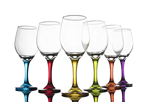 Trinkware Colored Stem Wine Glasses Set of 6 - Multi Yellow, Orange, Purple, Blue, Red, Green - Fun Party Wine Goblets -11oz