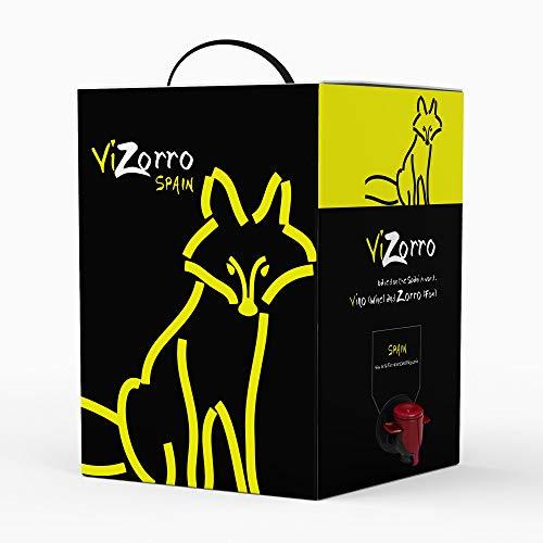 Vino Tinto - Bag in Box 5L ICaja de vino tinto con grifo I Uvas Seleccionadas - Vino de la Tierra de Castilla y León Con un Sabor Suave , Agradable y Vivo I Vizorro Tinto Tempranillo