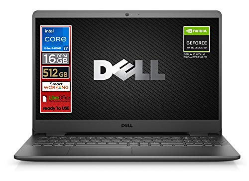 Dell SSD Laptop, Intel i7 CPU of 11 Gen. 4 cores up to 4.7 GHz, Display 15.6' FullHD LED, SSD nvme 512 Gb, 16GB DDR4, Win10 Pro, Svga mx 330 2gb, wi-fi, 4usb, lan, Ready to use, Italy Warranty