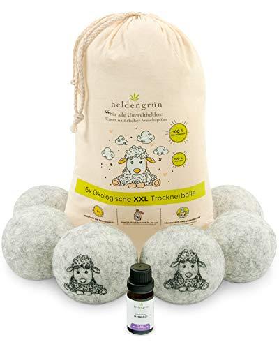 Heldenreen Lot de 6 balles de séchage XXL avec huile de lavande et adoucissant bio 100 % laine de mouton néerlandaise – Boules de séchage pour sèche-linge
