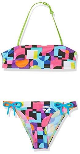 arena Mädchen Bandeau Bikini Marble (Schnelltrocknend, UV-Schutz UPF 50+, Chlor-/Salzwasserbeständig), Black-Leaf (506), 116