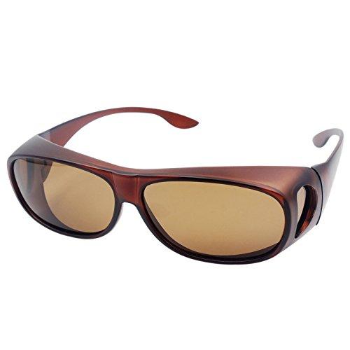 LEDING&BEST Sonnenbrille Überziehbrille für Brillenträger Brille Herren Damen {Polarisiert Sonnenüberbrille über Normale Brillen},UV400 Sunglasses Fit Ove Rx Glasses (Braun)