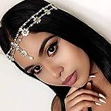 Barogirl Hair Jewelry Head Chain Wedding Bohemian Floral Headband Elastic for Women and Girls (Silver)