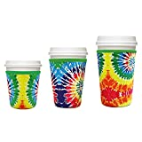3 Pack Reusable Iced Coffee Cup Insulator Sleeve Cup Cover Insulated Sleeves Drinks Sleeves for Cold Beverages and Neoprene Holder for Starbucks Coffee, McDonalds, Dunkin Donuts (Rainbow)